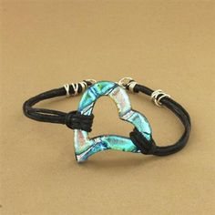 Teal Dichroic Glass Heart Leather Bracelet  Blue for me...