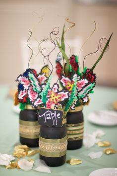 Perler bead centerpiece: Tiger Lilies