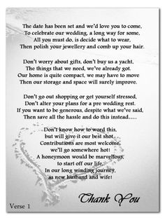 Wedding Money Gift Voucher Poem Cards For Invites A7 or A6 Beach Heart ...