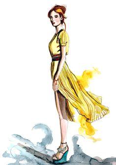 watercolor fashion illustration breezy.jpg 400×568 pixels
