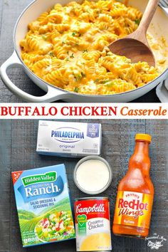 Creamy and smooth with just a little bit of heat, this Buffalo Chicken Casserole is an easy dinner recipe that the whole family can enjoy! Zesty Ranch seasoning balances cheesy pasta and kickin Pollo Buffalo, Buffalo Chicken Casserole, Buffalo Chicken Pasta, Chicken Pasta Casserole, Alfredo Chicken, Buffalo Chicken Recipes, Hamburger Casserole, Chicken Enchiladas, Chicken Pasta Recipes