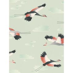 The stylish design features a repeat pattern of cranes in flight, in complimentary tones of grey, black, white and coral. Free UK delivery available