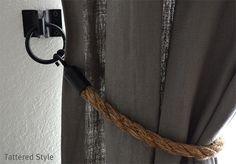 Tattered Style: Rope Tiebacks ~ DIY (restoration hardware knock-off) Curtain Tie Backs Diy, Rope Curtain Tie Back, Rope Tie Backs, Curtain Ties, Curtain Call, Linen Curtain, Drapery, Burlap Curtains, Outdoor Curtains