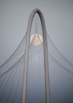 The Margaret Hunt Hill Bridge and the supermoon of June 2013.