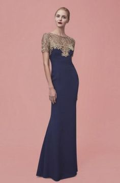 NWT-Marchesa-Notte-Short-Sleeve-Navy-Embroidered-Crepe-Gown-Size-10