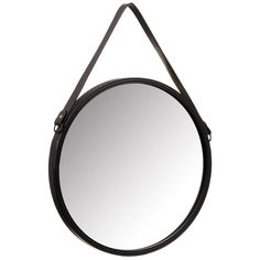 Faux Leather Strap Mirror - This contemporary round mirror with faux leather hanging strap detail is a great way to re-invent living space - Brown
