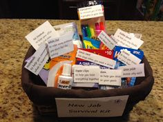 I saw that going differently in my mind.: New Job Survival Basket Office Survival Kit, New Job Survival Kit, School Survival Kits, Survival Kit Gifts, College Survival, Survival Prepping, Survival Gear, Welcome New Employee, Employee Gifts