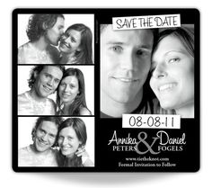 Photobooth style Save The Date magnet. Completely adorable. #wedding