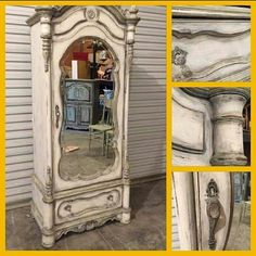 """Lisa from Paintiques shares her Dixie Belle recipe for this beautiful piece! """"Drop Cloth then Dried Sage here and there. Sand then Black Glaze and satin clear coat. Easy Peasy!"""" .#chalkpaint doesn't have to be expensive to be awesome. #paintedfurniture."""