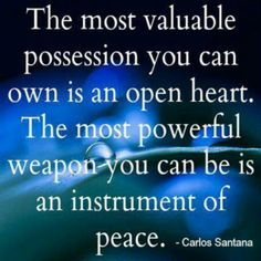 """""""The most valuable possession you can own is an open mind.  The most powerful weapon you can be is an instrument of peace.""""  -Calos Santana"""