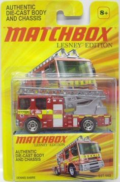 "2010 Matchbox Lesney Edition DENNIS SABRE fire truck die cast 1:64 scale by Mattel. $7.99. authentic die-cast body and chassis. 1/64 scale. comes with collector container box. for ages 8 and up. red color. Red Dennis Sabre fire truck with ""Hathfordshire County Div."" tampos  Established in 1963 by Lesney Products, Matchbox represents authentic, detailed 1:64th scale vehicles. Today, each Matchbox Lesney Edition vehicle features a classic combination of quality die-cas..."