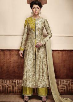 e54ef21e47e Panash Eid Collection - Buy Beige Front Slit Anarkali Suit in Silk online