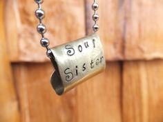 Metal Hand Stamped Brass Large Hole Bead or Pendant Soul Sister Eco Friendly Jewelry Artisan Made