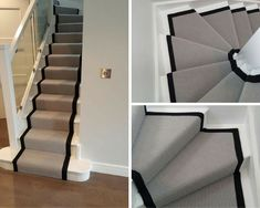 Grey Carpet with a Black Border to Stairs