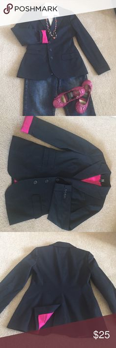 Hilfiger Never Boring Blazer Presenting a dark navy never boring blazer fully lined with color popping pink. Very appropriate for a job interview or look chic just going about with jeans. Worn twice in EUC. Tommy Hilfiger Jackets & Coats Blazers