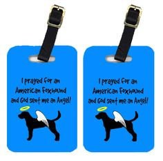 Pair of 2 American Foxhound Luggage Tags