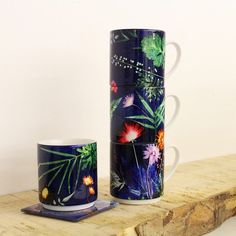 Image of Indigo Tropical Stacking Mug Set