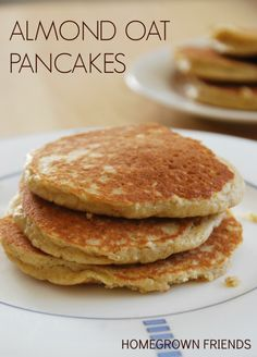 easy to make fluffy almond oat pancakes   no refined sugar, no white flour