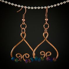 Copper Wire Heart Shaped Earrings - Hammered Distressed Copper Wire Earrings with Iridescent Wood Beads