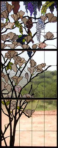"""WISTERIAMAGNOLIA"" CUSTOM STAINED GLASS WISTERIA AND MAGNOLIA WINDOW CREATED BY JACK MCCOY.    This custom stained glass window of wisteria and magnolia blossoms, 27"" x 71"", was for a private residence in Spicewood, TX.    Copper foil construction."