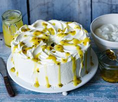Angel food cake with lemon curd and passionfruit seeds - Mary Berry's technical challenge