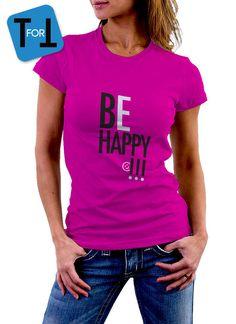BE HAPPY - T-shirt rose fuchsia pour transmettre la bonne humeur Tshirt Femme de la boutique teeFORtea sur Etsy