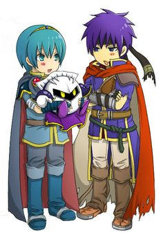 Cute illustration of Marth and Ike holding Meta Knight.  I just wish that they were a larger size, because they look like children in this photo.  The amount of detail on Ike and Marth is really striking when in contrast with Meta Knight who looks like a volleyball here.