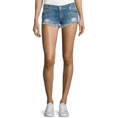 True Religion Joey Cutoff Denim Shorts (245 CAD) ❤ liked on Polyvore featuring shorts, vnt tr dest, denim shorts, ripped jean shorts, cut off shorts, distressed shorts and destroyed denim shorts
