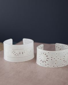 Shrinky Dink bracelets with a lace pattern