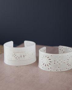 Shrinky Dink bracelets with a lace pattern