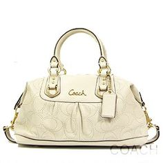 Coach Perforated Signature Leather Ashley Satchel Bag 17130 Ivory White $325.00