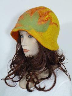 Funky lagenlook 1930's asymmetric yellow & orange soft boiled wool cloche hat | eBay