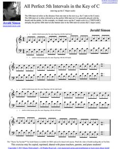 All Perfect Fifth Intervals moving up the C Major Scale by Jerald Simon Alto Sax Sheet Music, Piano Music, Piano Jazz, Major Scale, C Major, Piano Scales Fingering, Music Education Activities, New Age Music, Free Piano