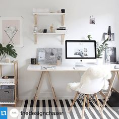"""""""Scandi black and white perfection right here on @thedesignchaser ...beautiful styling and composition, nailed it xGI #Scandi #Scandinavian #study #office…"""""""