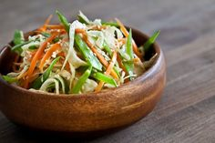asian slaw with ponzu and sesame seeds.