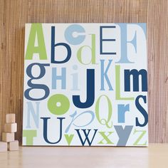 Children Wall Art, Decor for Baby Nursery, Kids and Children Rooms. 20x20 ABC Canvas - Navy Blue/Green. $76.00, via Etsy.