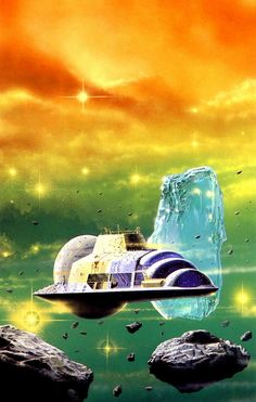 """An """"astrolab"""" positioned within the rings of Saturn, illustrated by Angus McKie in """"Spacecraft 2000 to 2100 AD,"""" Art Science Fiction, Science Art, Pulp Fiction, Sci Fi Kunst, Perry Rhodan, Arte Sci Fi, 70s Sci Fi Art, Sci Fi Novels, Classic Sci Fi"""