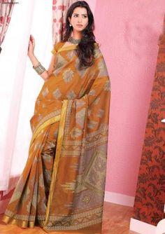 Sarees:R10P322 | Designer Printed Brown Cotton Saree