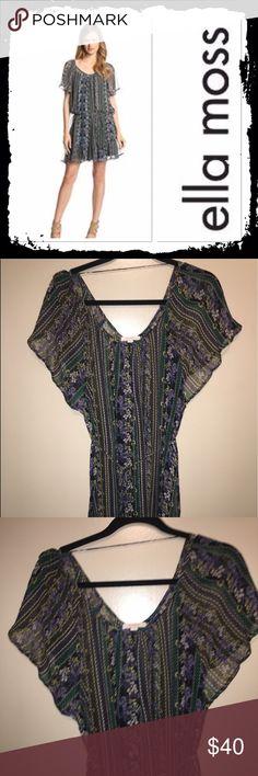 Ella Moss silk sheer dress Size XS gorgeous 100%silk floral dress with tie belt like new with flowy sleeves Ella Moss Dresses