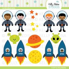 Bulletin Board Designs: What's a space themed classroom without astronauts, rockets and aliens! Print, cut and paste these in your bulletin board or the walls of your classroom. Outer Space Boys Clip Art Design By: Kelly Medina on Etsy.