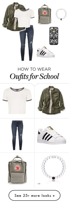 """""""school casual"""" by peotics on Polyvore featuring Black Orchid, L.L.Bean, Topshop, adidas, Fjällräven and Hervé Léger"""