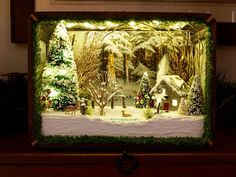 Etsy :: Your place to buy and sell all things handmade Christmas Crafts, Christmas Stuff, Christmas Ideas, Christmas Shadow Boxes, Wood Shadow Box, Winter Cabin, Bottle Brush Trees, Entertainment Center Decor, Christmas Scenes