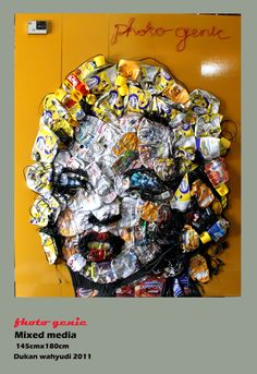 recycle cans of material forming the figure of Marilyn Monroe Photogenic