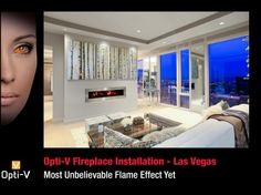 The Dimplex Opti-V is part of the all new Opti-Virtual series. The Opti V is the most realistic electric fireplace to date with a High Def LED screen. Dimplex makes some of the best electric Fireplace Inserts, Fireplace Wall, Living Room With Fireplace, Fireplace Ideas, Dimplex Electric Fireplace, Wall Mount Electric Fireplace, Virtual Fireplace, Realistic Electric Fireplace, Vegas Hotel Rooms
