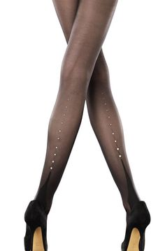 Even the most conservative woman can take sheer black stockings up a notch with a row of rhinestones up the back of her calf. All That Sparkles-Rhinestone BackSeam Tights, $32, Peek Brooklyn.