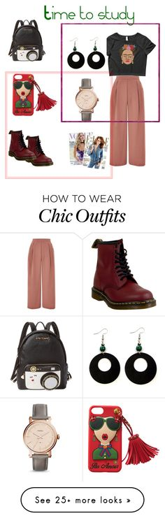 """""""Look classy while you study"""" by yvonne-garcia-bardwell on Polyvore featuring Topshop, Dr. Martens, Betsey Johnson, FOSSIL and Whiteley"""