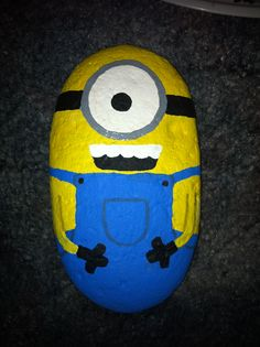 Painted rock minion!! Love him!!