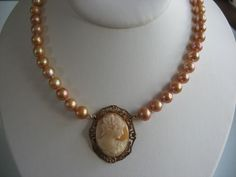 antique cameo and pearls