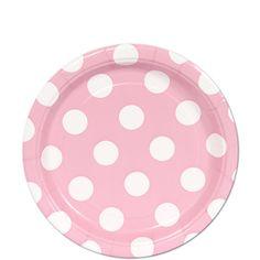 Baby Pink Polka Dot Dessert Plates (8)