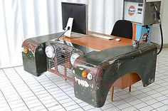 Land Rover office desk custom up-cycled car furniture hand made *father's day!* in Cars, Motorcycles & Vehicles, Cars, Land Rover/Range Rover Bar, Car Part Art, Car Furniture, Classic Car Insurance, Automotive Decor, Garden Office, Decoration, Custom Homes, Office Desk